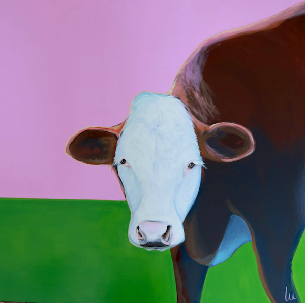 lesli devito original paintings pink and green cow