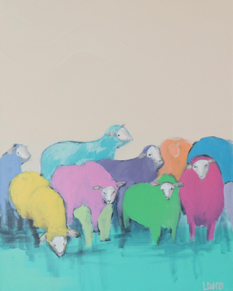 SOLD - RAINBOW SHEEP  - 24 X 30