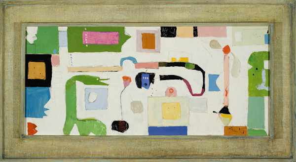 Green Dragon 1967, oil on canvas 44 x 24 framed $4600  Generally thickly painted Green Dragon features Guy Danella's abstract expressionist mapspace where shapes and entities have their respective significance  in a flat, flat world that can stran