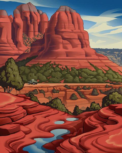 Fun, nostalgic, wild west AZ themed artwork for editorial and storytelling.