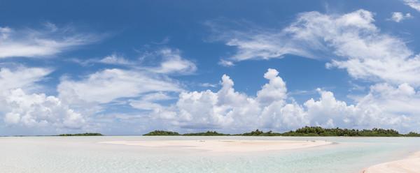 Blue Lagoon Sandbar Pano, French Polynesia