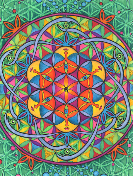 Unity, flower of life, sacred flower art