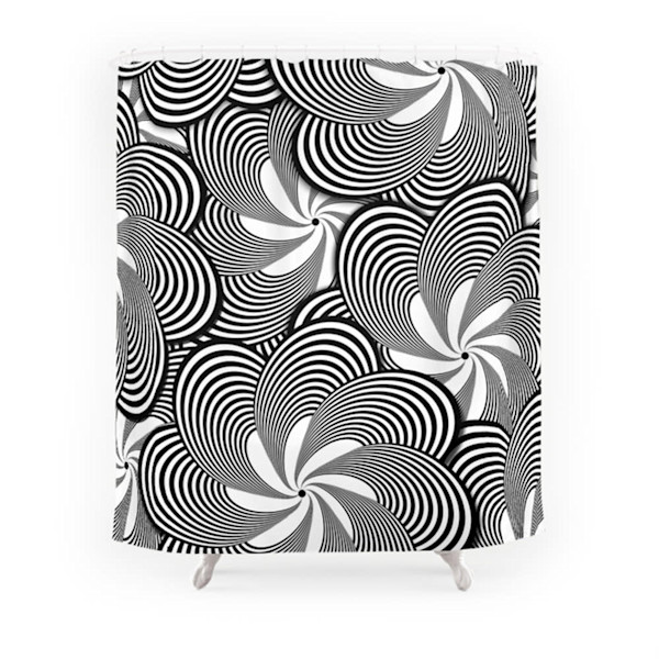 Black and White Flower Pattern Decorative Bathroom Accents
