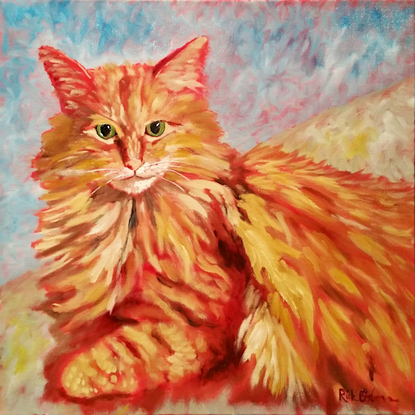 Ernie   Large Yellow Cat Fine Art Painting Print by Rick Osborn