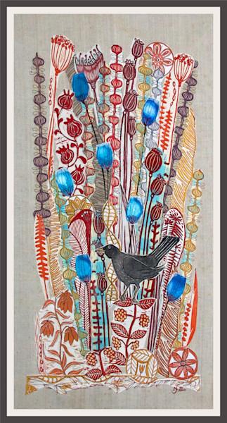 the blackbird sings october songs in this linocut collage created by printmaker Mariann Johansen-Ellis. Handprinted fabrics, art, paintings, printmaking