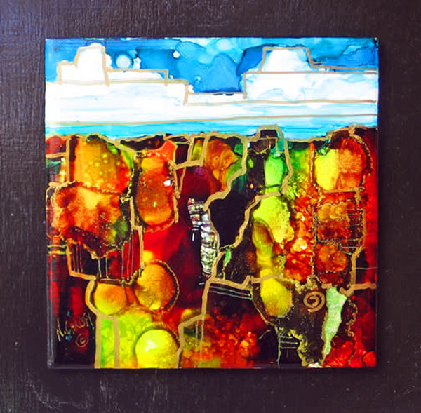 Original abstract alcohol inks hand-painted ceramic tile scene mounted on wood panel