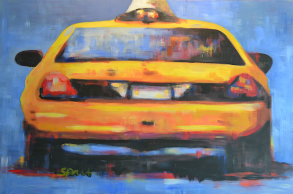 Yellow Taxi Cab Fine Art Print by Steph Fonteyn