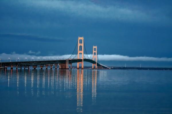 sunrise, spring, morning, mackinac-bridge, reflections