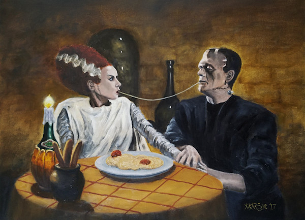 "Bride of Frankenstein and Frankenstein eating spaghetti, a la ""Lady and the Tramp"""