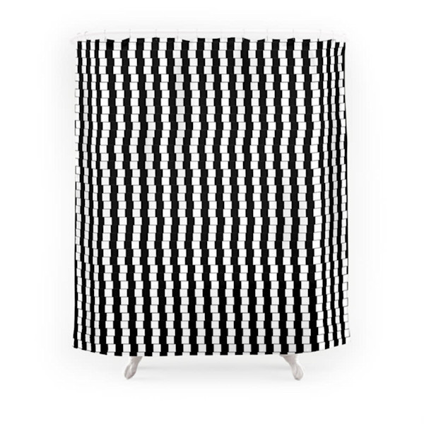 Offset Black And White Lines Decorative Bathroom Accents