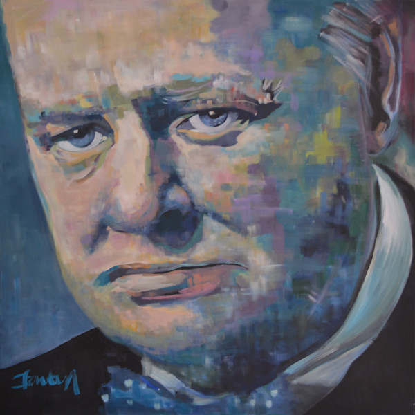 Winston Churchill Original Acrylic Portrait by Steph Fonteyn