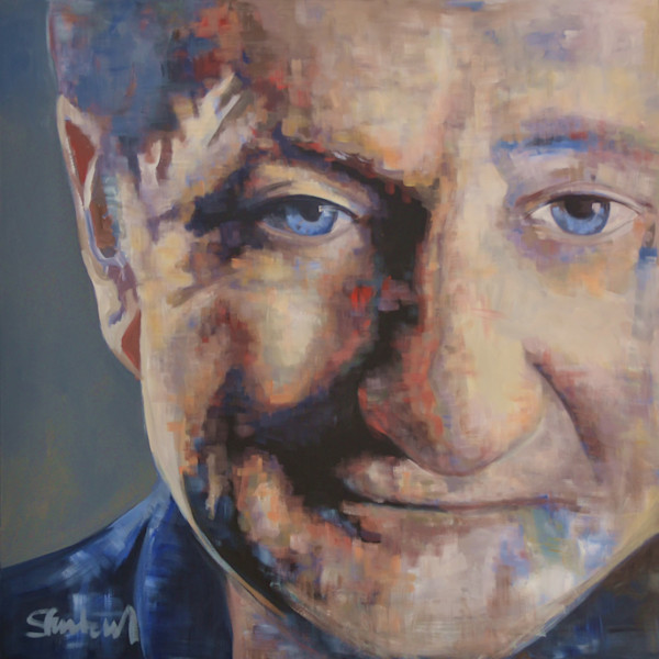 Robin Williams Portrait Painting by Pop Artist Steph Fonteyn