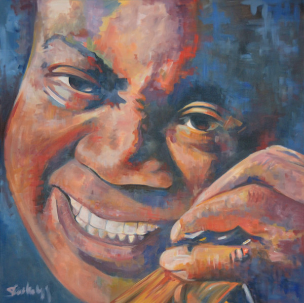 Louis Armstrong Original Jazz Painting in acrylic by Steph Fonteyn