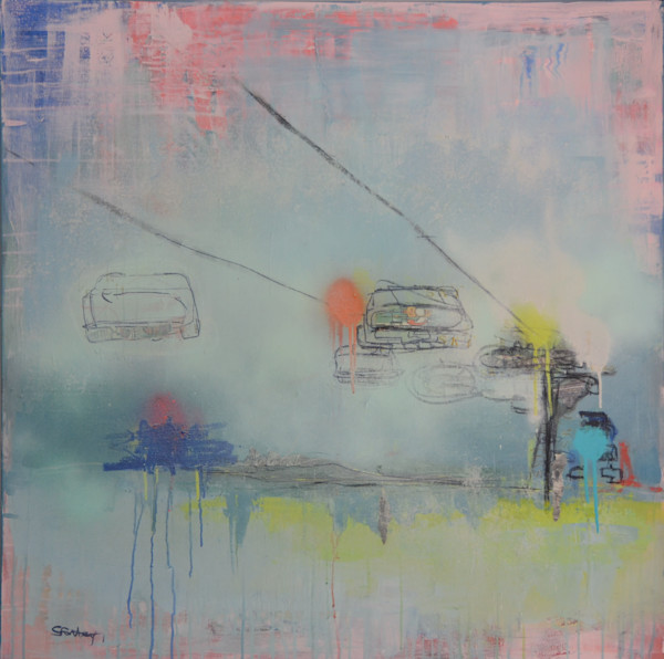 Ski Lift Original Acrylic Painting by Steph Fonteyn
