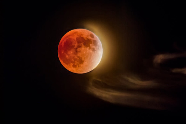 Blood Moon and Clouds - Signed