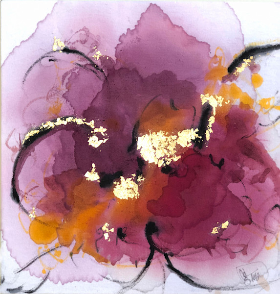 The flower that once has blown forever dies, hibiscus, saffron, cochineal painting