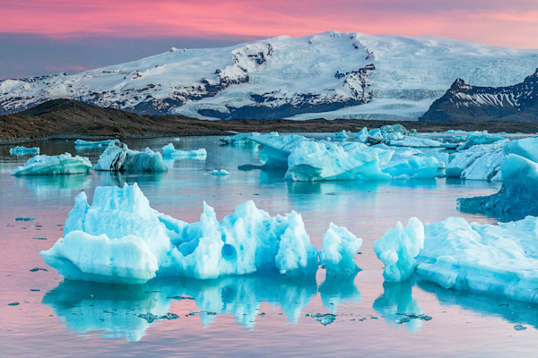 Iceland Midnight Iceberg Reflection for sale as fine art photograph by Mike Jensen