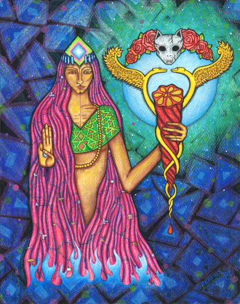wise spiritual seeker holding mudra and ayahuasca vine