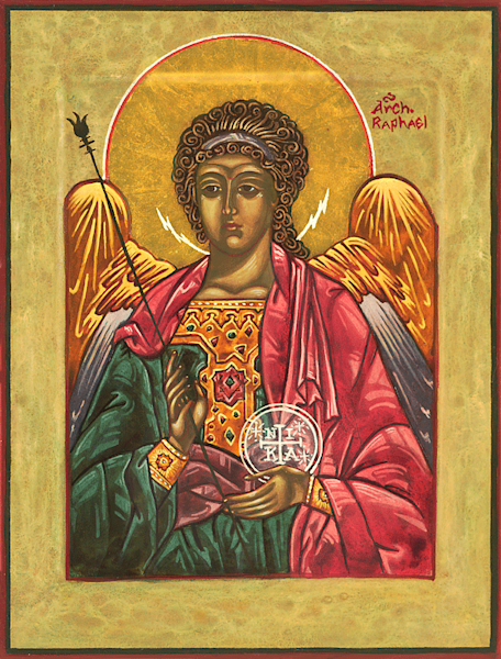Archangel Raphael print by Nancy Gezella.