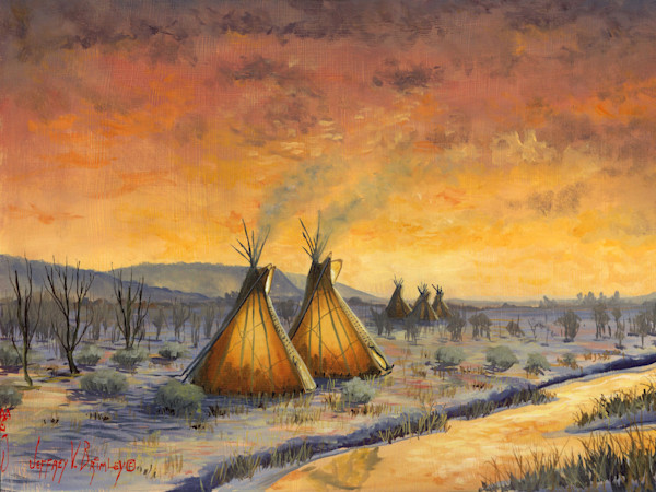 Native american Cheyenne winter teepee prints