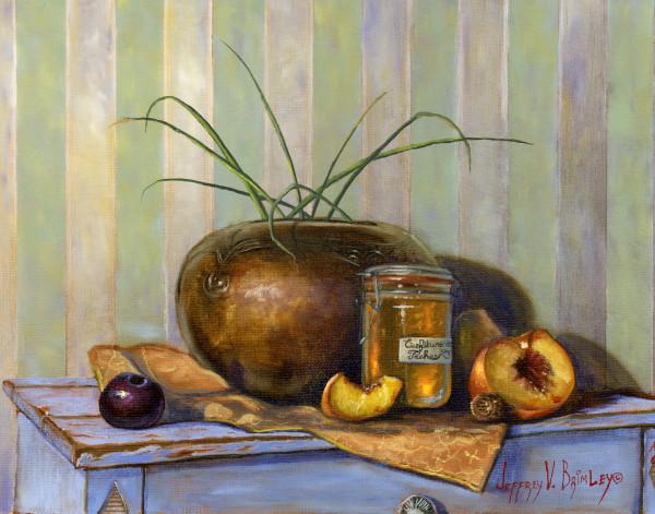 Peach jam still life Prints with a plum
