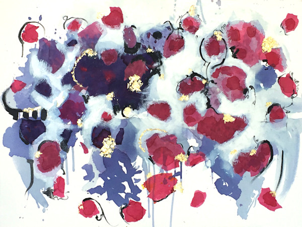 Hibiscus and mixed media, painting with natural flowers