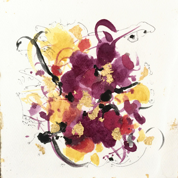 Rush to Joy, painting with Pomogrante flower