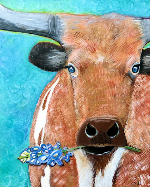 Longhorn With Bluebonnet Art For Sale
