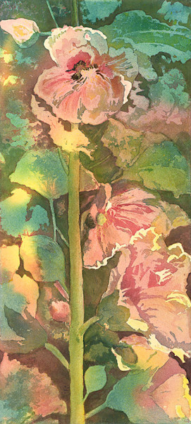 Hollyhock print by Gayle Brunner.
