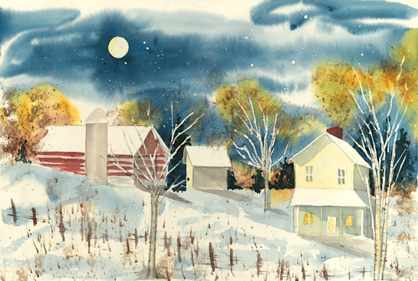 Winter moon print by Gayle Brunner.
