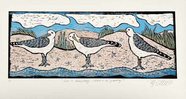 cheeky seagulls are a favourite theme of Mariann Johansen-Ellis original linocuts, art, paintings