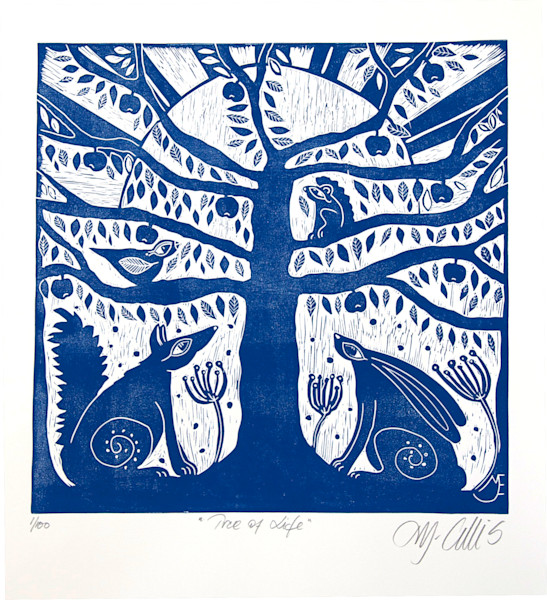 a blue and white original linocut featuring the tree of life, with the hare and the fox in friendship, the squirrel and the bird keeping them company, by printmaker Mariann Johansen-Ellis, art, paintings