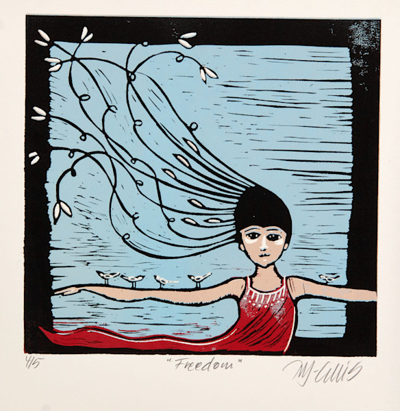 a girl in a red dress, almost flying, freedom, imagination, all the things that make us lift our spirits, linocut reduction by printmaker Mariann Johansen-Ellis, art, paintings