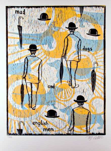 mad dogs and englishmen, a song by Noel Coward is illustrated in this original 3 plate linocut by printmaker Mariann Johansen-Ellis, bowler hats and dogs, art, paintings