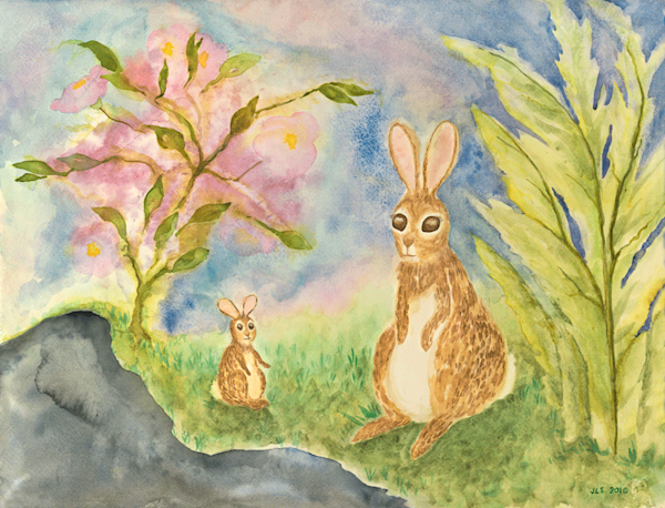 Bunny Mothers love their babys too print by Judith Spielmacher.