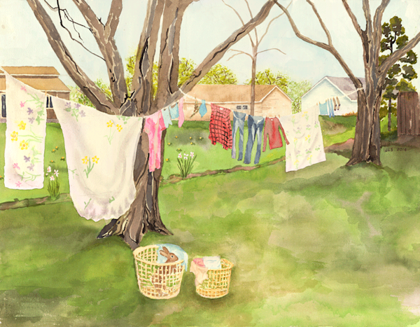 My backyard II, springtime print by Judith Spielmacher.