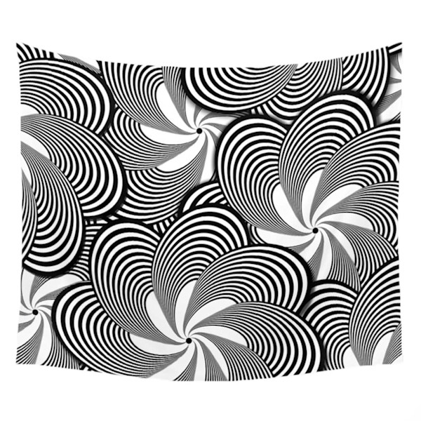Black and White Flower Pattern Wall Tapestries