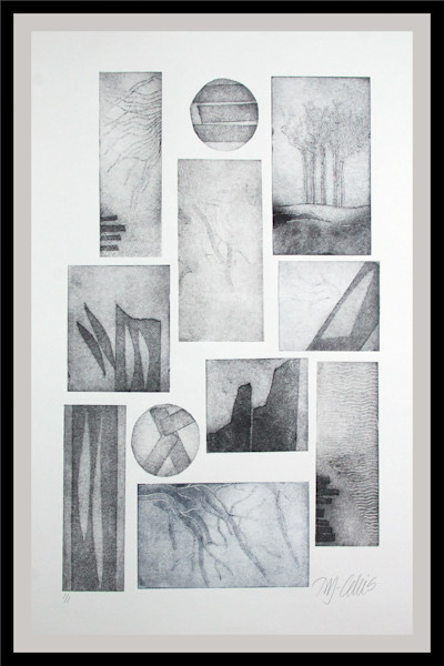 a black and white, grey tones, mono print with beach scenes, stones, water, ocean and beach by printmaker Mariann Johansen-Ellis, art, paintings