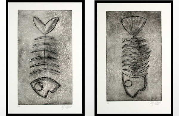two prints, a pair of prints with fish skeletons, collagraphs printed by Mariann Johansen-Ellis, graphic black and white images, art, paintings