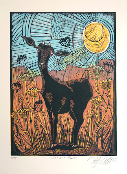 in a typical Spanish landscape under the strong sun a goat by printmaker Mariann Johansen-Ellis, an original linocut hand printed from 3 plates, art, paintings