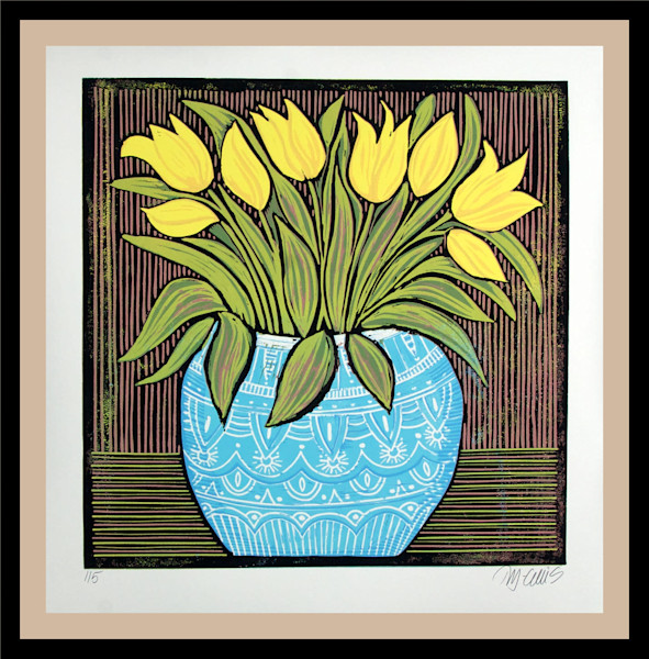a blue bowl of yellow tulips, a still life linocut by printmaker Mariann Johansen-Ellis, a flower print, art, paintings