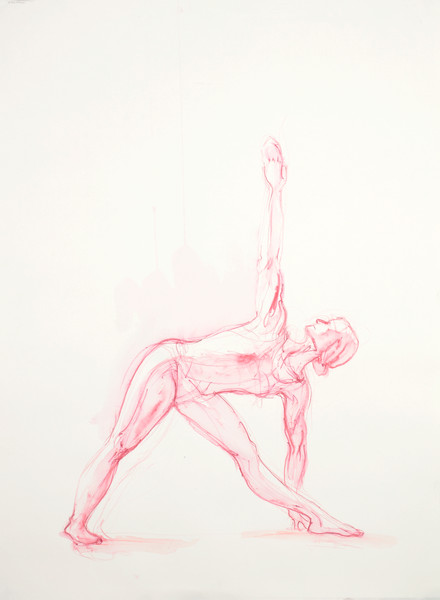 Pink Triangle Pose Yoga Print by Michelle Arnold Paine