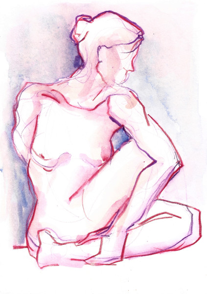 Yoga Twist Watercolor Figure Painting