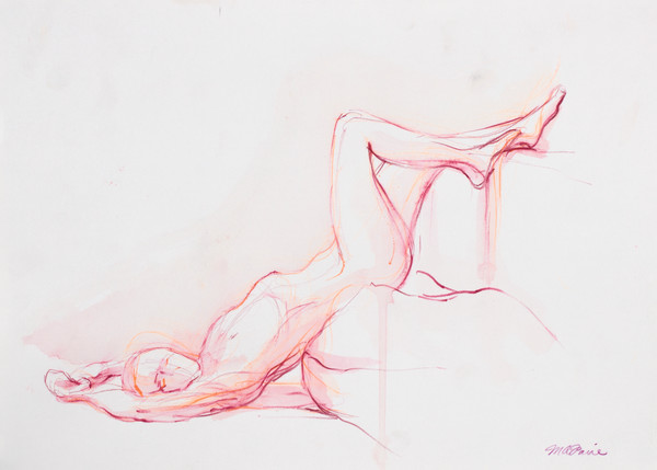 Pink reclining Female Fine Art Nude Watercolor
