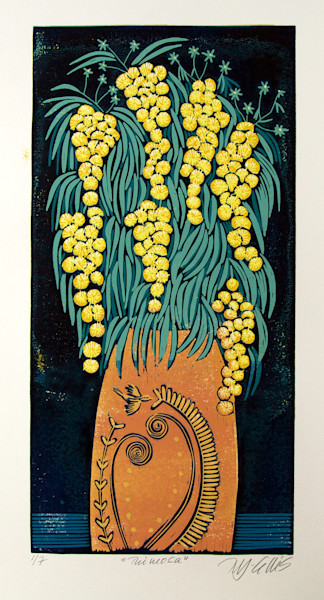 flower still life with mimosa branches in an orange vase by printmaker Mariann Johansen-Ellis, linocut reduction, art, paintings