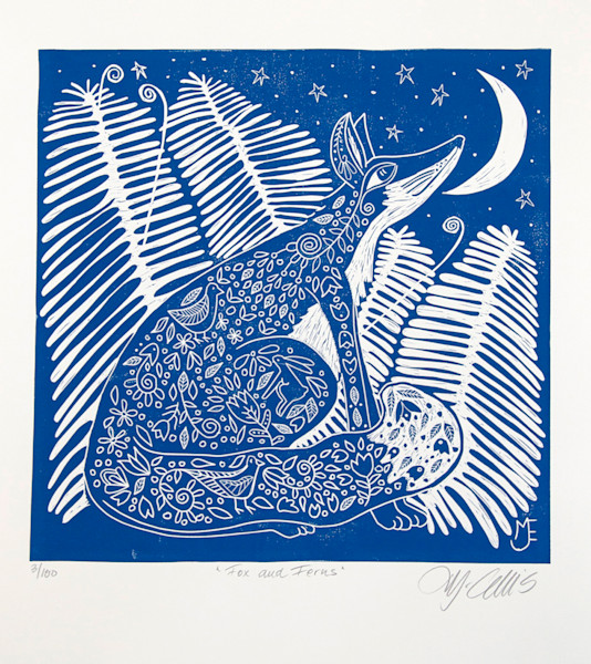 fox and ferns in this blue and white linocut print by printmaker Mariann Johansen-Ellis, art, paintings