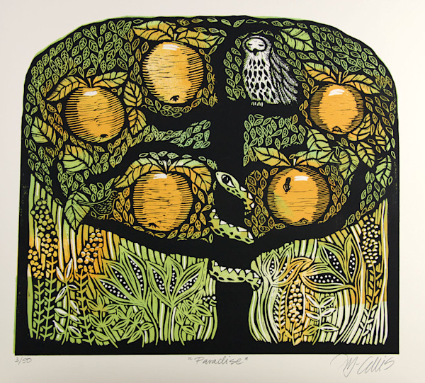 golden apples on an apple tree with the wise owl and the snake, like it should be in paradise, in this linocut limited edition print by Mariann Johansen-Ellis, art, paintings