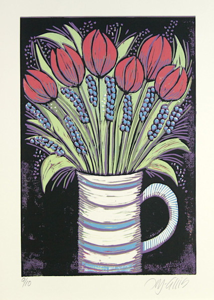 red tulips and pearl hyacinths in a striped vase, a limited edition art print, linocut, by Printmaker Mariann Johansen-Ellis, art, paintings