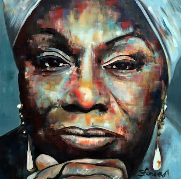 Nina Simone Original Painting by Steph Fonteyn