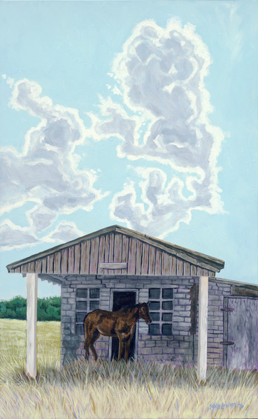 Painting of a lonely horse under the porch of an old house, available as art prints.